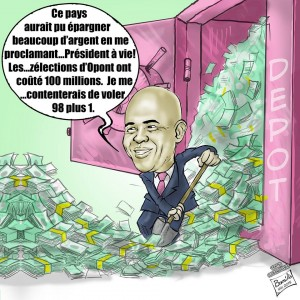 caricature -martelly election corruption 100 millions